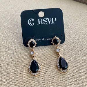 New Charming Charlie Black Crystal Drop Earrings